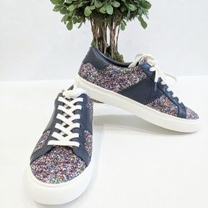 Tory Burch Carter Glitter Lace-Up Sneaker 8.5